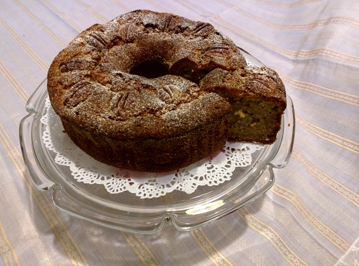 Apple, pecan and banana cake