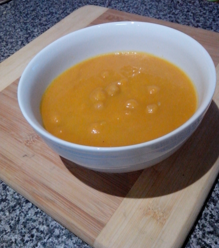 Bowl of pumpkin and chickpea soup