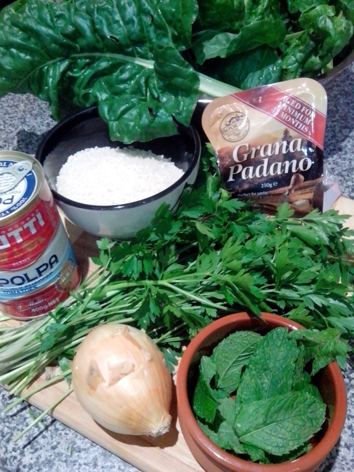 Silverbeet dolmades ingredients