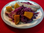 IMG_20160525_121117-Roasted red cabbage and sausages
