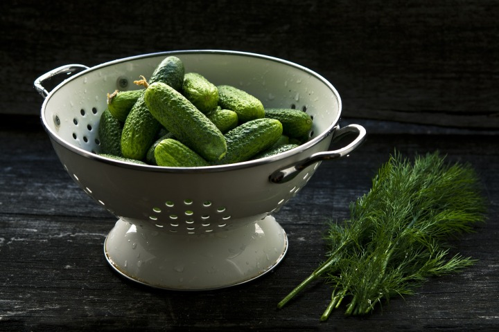 cucumbers in colander-1840300_1920
