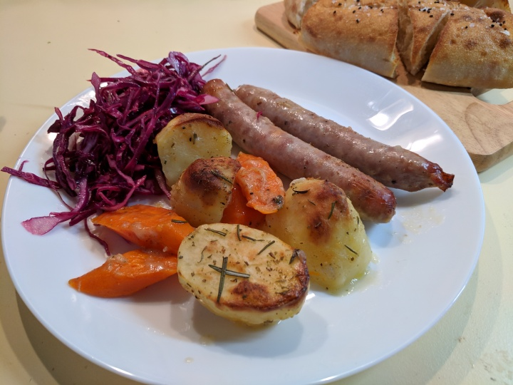 IMG_20190311_141212-Oven baked sausages and vegetables and cabbage