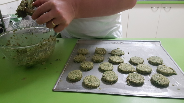 Falafel being pressed out-2020-04-09